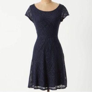Anthropologie Deletta Navy Knit Dress